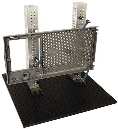 A variety of modular components can be assembled to hold almost any workpiece, even on a coordinate measuring machine.Image courtesy TE-CO.